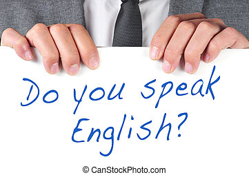 do you speak english? - a man wearing a suit holding a...