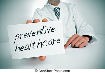 preventive healthcare - a man wearing a white coat showing a...