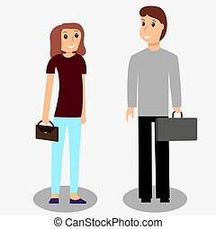 A man with a briefcase and a woman with a bag. Vector illustrati