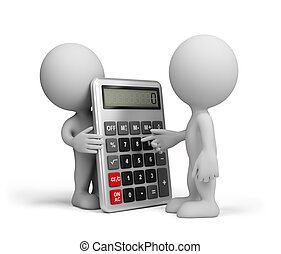 A man with a calculator - Man makes calculations with a...