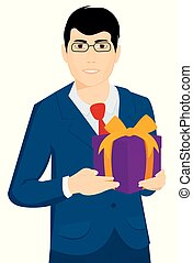 A man with a Christmas gift in his hands. Vector.