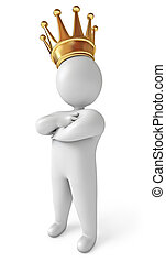 A man with a crown on his head. White background. 3d render