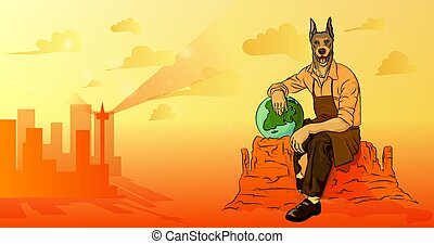A man with a dog's head sitting on a rock