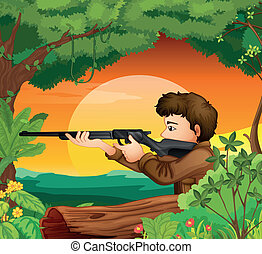 A man with a gun at the woods