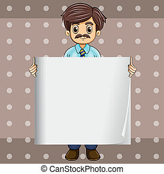 A man with a mustache holding an empty board