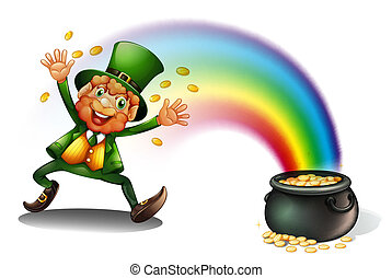 A man with a pot of golds - Illustration of a man with a pot...