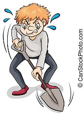 A man with a shovel
