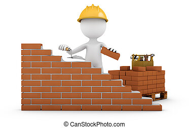a man with a trowel building a brick wall