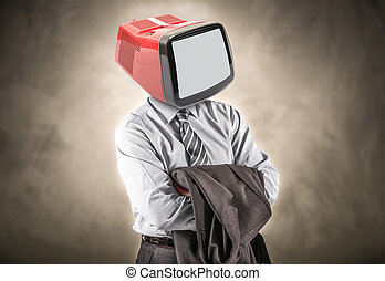 man with a tv head