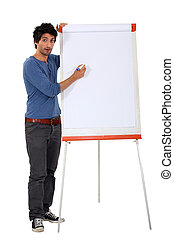 a man with a whiteboard