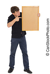 a man with a wooden plank on white background