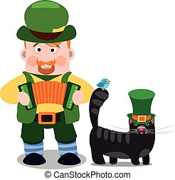 A man with an accordion and a black cat. The festive character in cartoon style. Congratulations to the St. Patrick's Day.