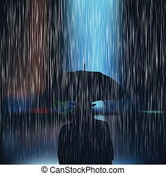 A man with an umbrella during a sto