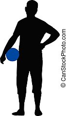 a man with ball, silhouette vector
