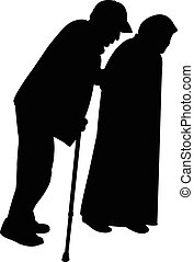 a man with baton and an old woman i