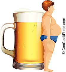 A man with beer belly