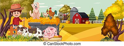 A man with farm animal in nature farm horizontal landscape scene at sunset