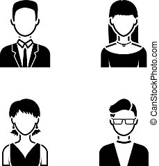 A man with glasses, a girl with a bang, a girl with earrings, a businessman.Avatar set collection icons in black style vector symbol stock illustration web.