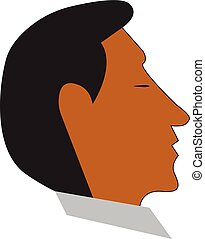 A man with his eyes closed vector or color illustration