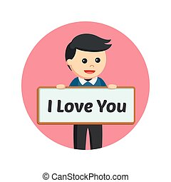 a man with i love you sign board in circle background