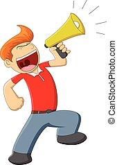 A man with megaphone cartoon