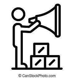 A man with megaphone icon, outline style