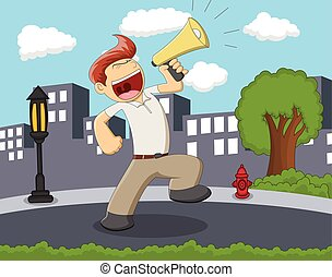 A man with megaphone standing