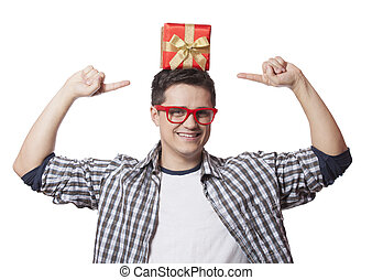 A man with present box on the head, white background.