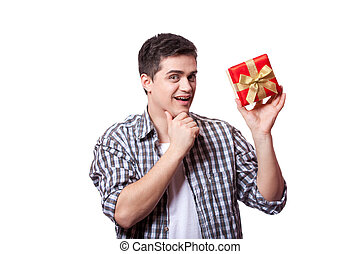 A man with present box, white background.
