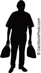 a man with shopping bags, silhouette vector