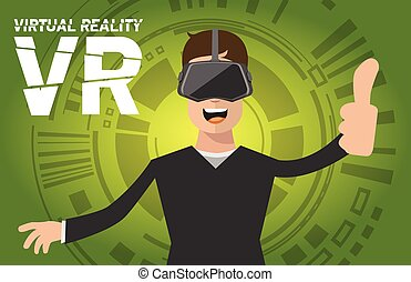 A man with virtual reality headset