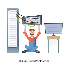 A man working with a computer server or a render farm. Technical specialist in the data center. Vector illustration, isolated on white.