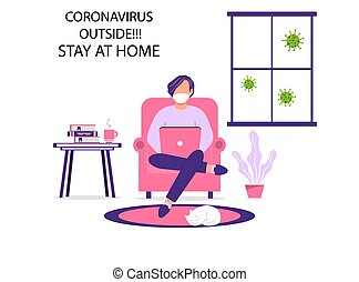 A man works on a laptop at home. Work at home during an outbreak of the COVID-19 virus. People work at home to prevent a viral infection. Self-isolation to prevent the spread of coronovirus infection.