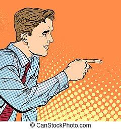 a, man, zeigt, a, finger., a, mann, erklären, something., sprechen, man., der, mann, an, der, podium, speaks., hübsch, junger, geschäftsmann, geben, advice.