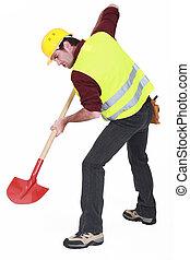 a, mann, bauhofarbeiter, digging.