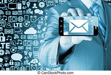 a, mann, besitz, smartphone, mit, eins, neu , nachricht, auf, a, schirm