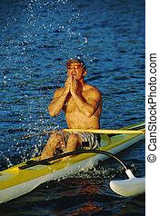a, mann, canoeing