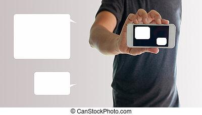 a, mann, gebrauchend, hand holding, der, smartphone, mit, leere nachricht, schablone