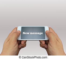 a, mann, gebrauchend, hand holding, der, smartphone, mit, text, neu , meaasge, anzeige
