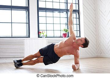 a, mann, machen, magen, workouts, auf, der, floor.
