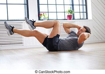 a, mann, machen, waschbrettbauch, workouts.