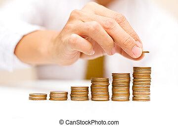 a, mann, steigend, geldmünzen