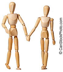 mannikin couple - a mannikin couple holding hands, isolated