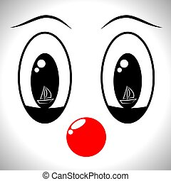 A man's face in a clown mask with different emotions, ...
