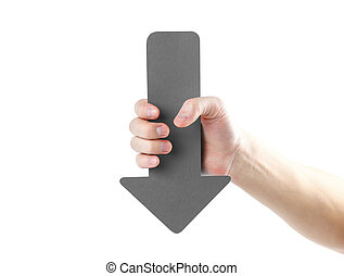 A man's hand holds a large grey arrow. Close up. Isolated on a white background