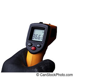 A man's hand in gloves holds an industrial thermometer.