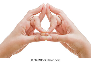 A man's hands is shown in yoga mudra dragon hand position....