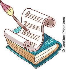 A manuscript paper with book