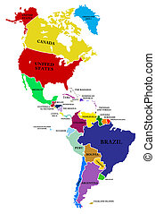 A map North and South America on a white background