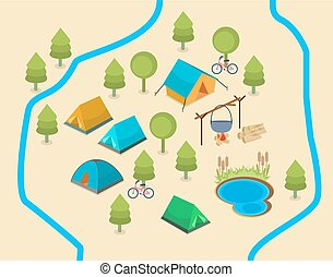 A map of a campsite